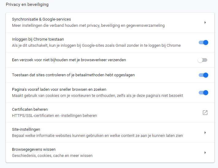 Cookies uitschakelen: Chrome Stap 4