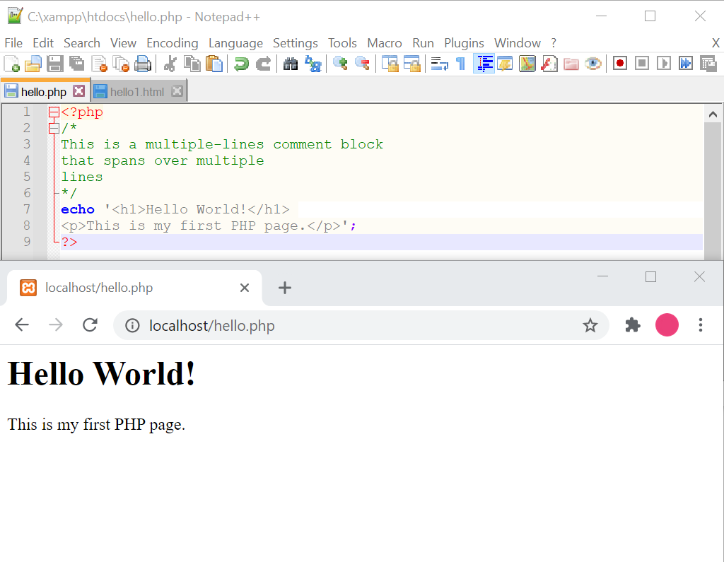 php tutorial voor beginners meerdere commentaarregels