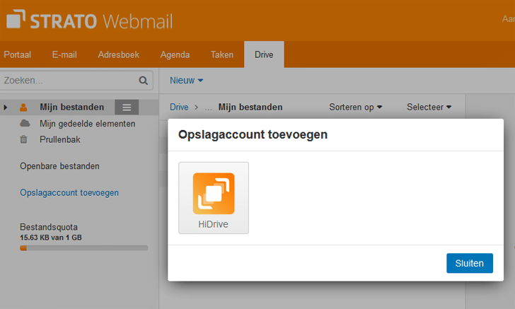 Integratie HiDrive in Webmail