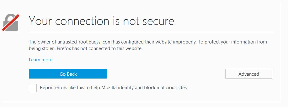 Firefox waarschuwing bij SSL-fouten