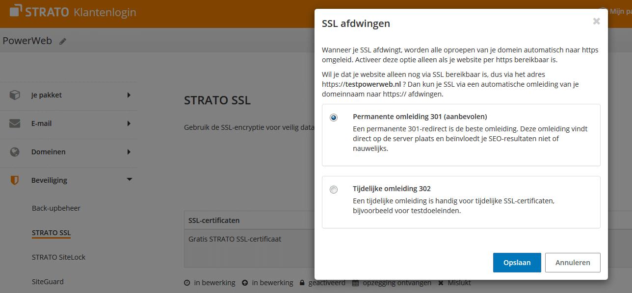 STRATO klantenlogin: SSL afdwingen