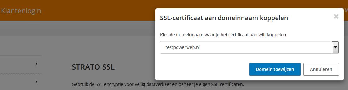 STRATO klantenlogin: SSL-certificaat aan domeinnaam koppelen