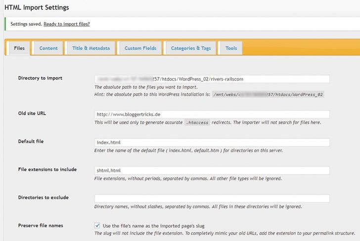Met de plug-in HTML Import 2 kun je je bestaande website in WordPress importeren