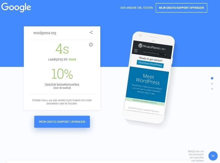 Test My Site van Google – je kunt een gedetailleerd rapport per e-mail ontvangen.