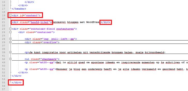 HTML-codevoorbeeld voor tags die de titel en de content definiëren.
