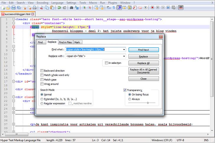 Zoeken en vervangen in alle bestanden tegelijk met Notepad++