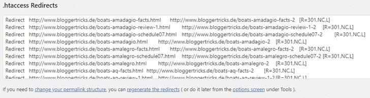 De plug-in toont redirect-informatie voor het .htaccess-bestand