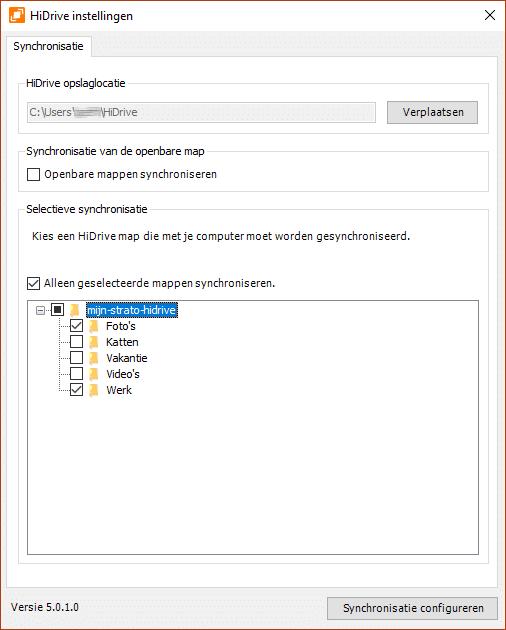 Synchronisatie configureren met de software voor HiDirve