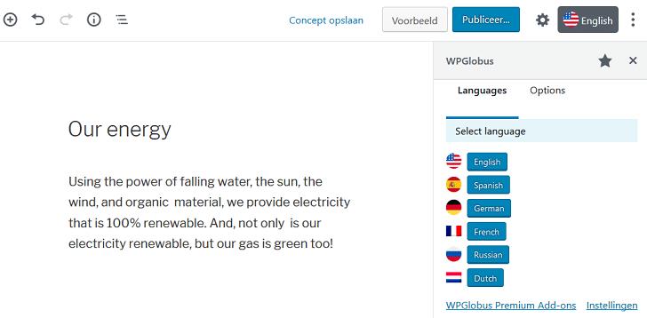WordPress-bericht in meerdere talen schrijven