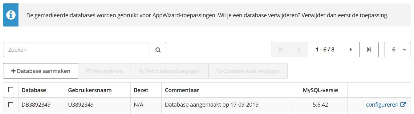 Een nieuwe database toevoegen