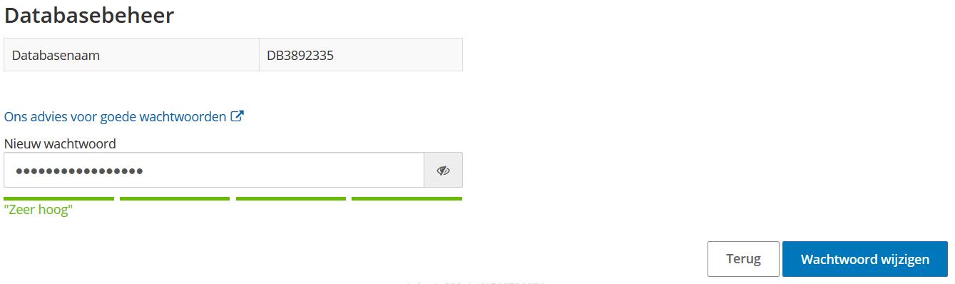 Nieuw wachtwoord instellen voor je nieuwe database