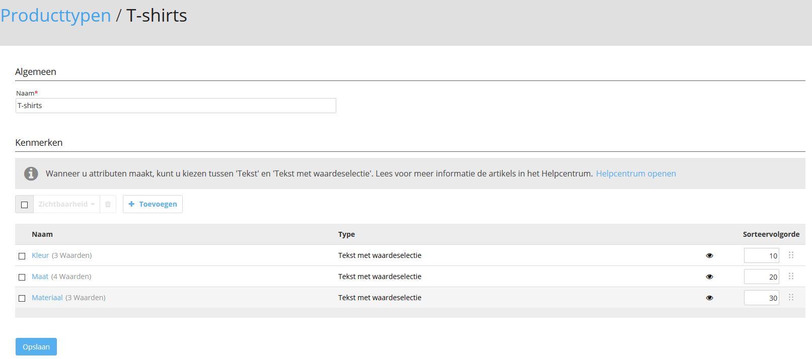 Het beheer van producttypen in de STRATO webshop.
