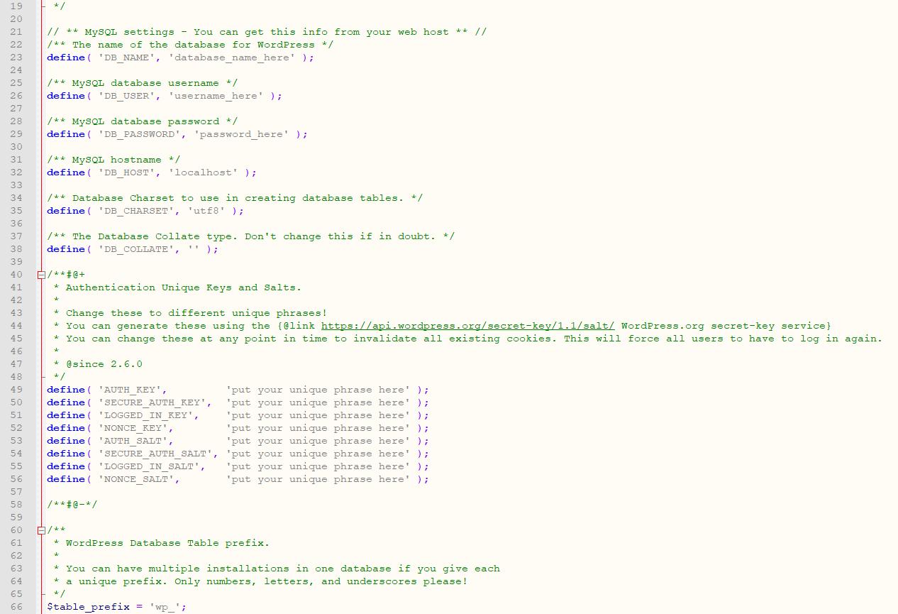 Het bestand wp-config.php openen en aanpassen