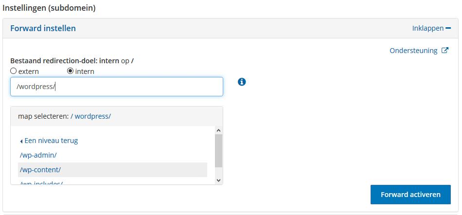 Interne domeinforward bij STRATO configureren
