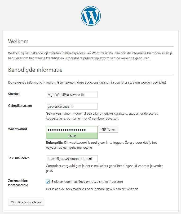 Installatiescherm van WordPress