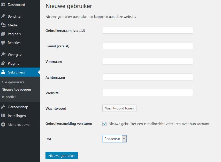 Nieuwe gebruiker aanmaken in WordPress