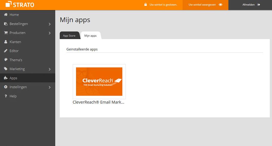 E-mailmarketing app CleverReach na installatie