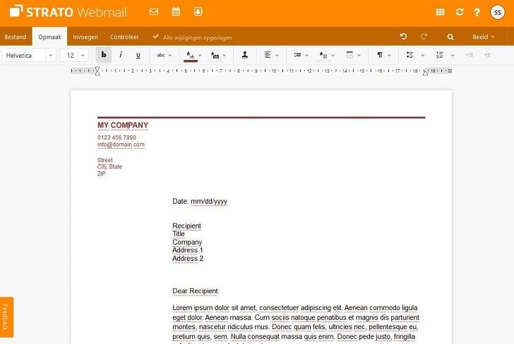 Tekst bewerken in Webmail