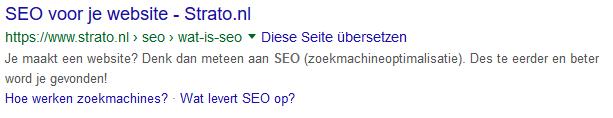 Google search snippet als voorbeeld