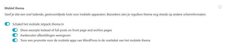 Jetpack: mobiel thema activeren