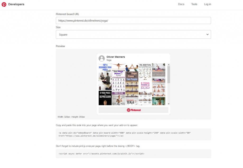 Pinterest code invoegen