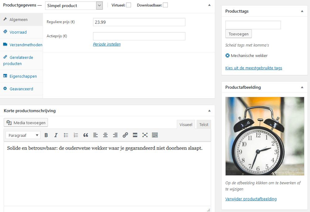 Productgegevens invoeren met WooCommerce