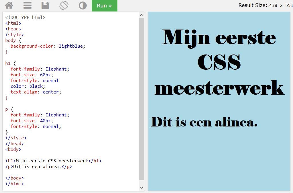 CSS tryit editor: experimenteren met lettertypes