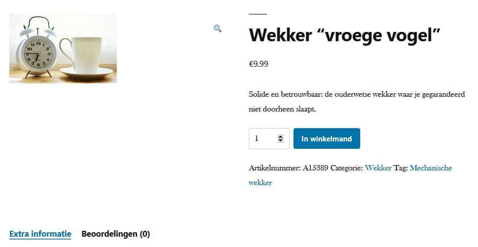 Voorbeeld-productpagina met WooCommerce
