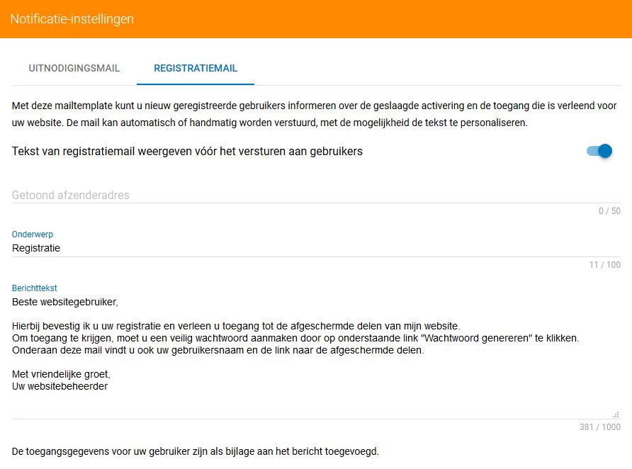 Registratiemail