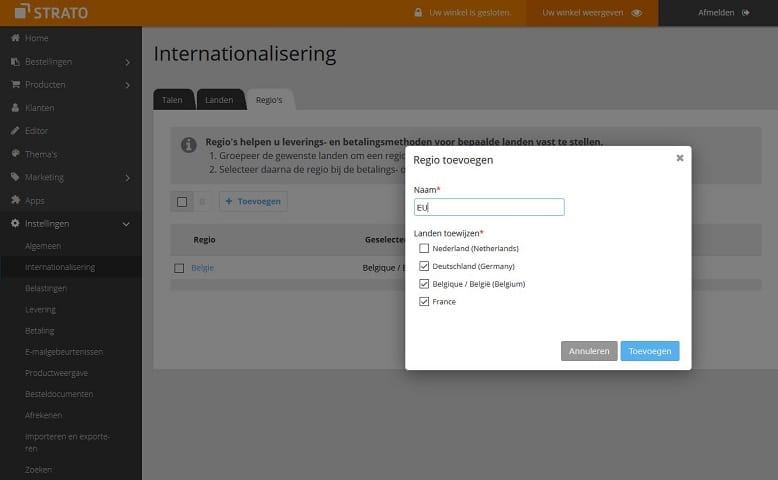 Onder menupunt 'internationalisering' in de STRATO webshop kun je je eigen regio's toevoegen