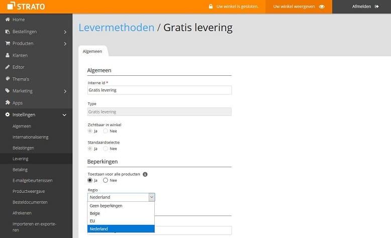 STRATO webshop instellingen gratis levering voor Nederland