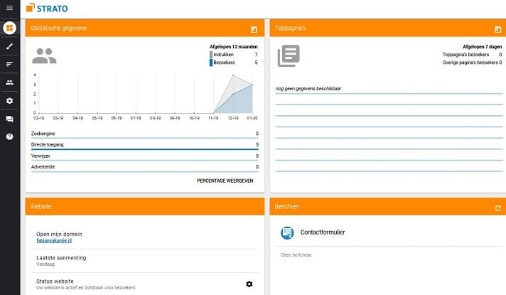 Sitebuilder: alle statistiek zichtbaar in je mobiele dashboard
