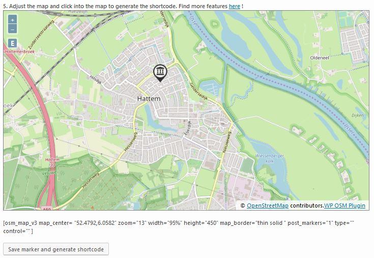 OpenStreetMap Shortcode genereren