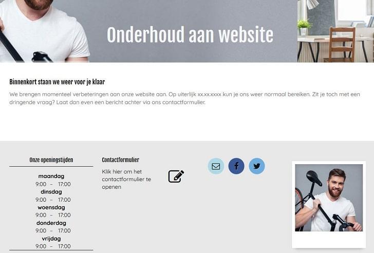 STRATO Sitebuilder: voorbeeld van een onderhoudspagina