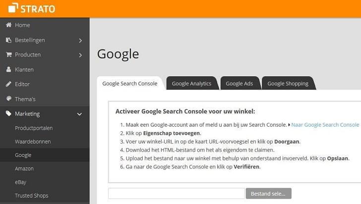 Screenshot STRATO webshop Now: Google Search Console instellen