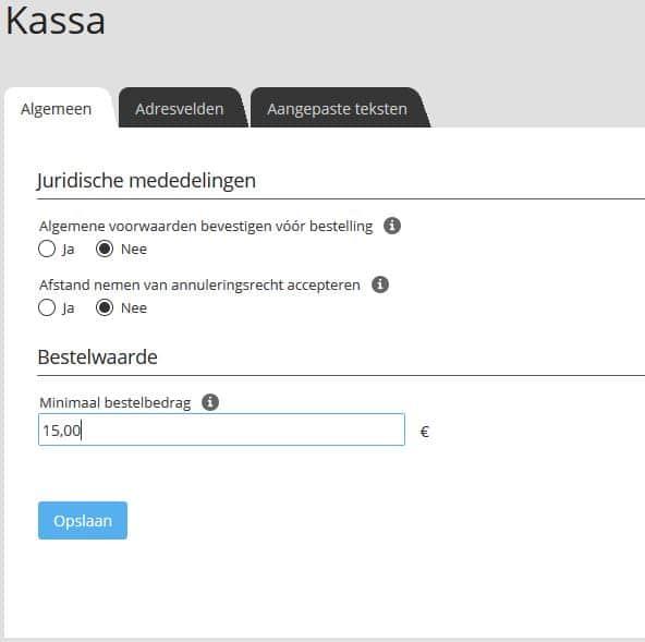 Screenshot STRATO webshop Now: minimale bestelwaarde vastleggen