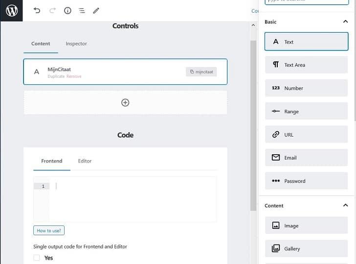 """Lazy blocks: overzicht van de verschillende """"controls"""" ofwel de invoervelden van je toekomstige blok"""