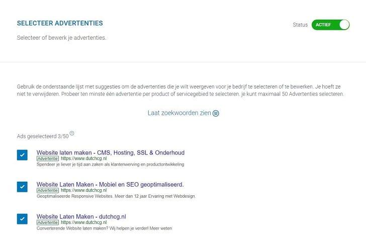 Advertenties worden door adCoach samengesteld