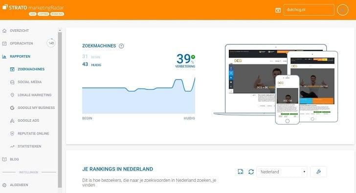 Je zoekmachinerankings in STRATO marketingRadar