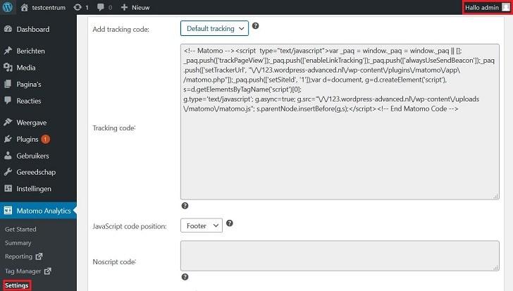 Matomo: admin-interface in de WordPress-backend