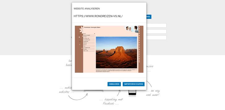 De importer maakt een analyse van je website