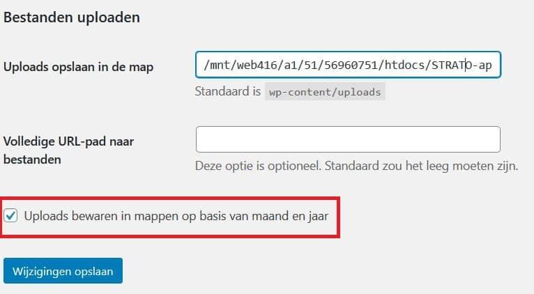 Instellingen van de mediabibliotheek: uploads bewaren in mappen op basis van maand en jaar