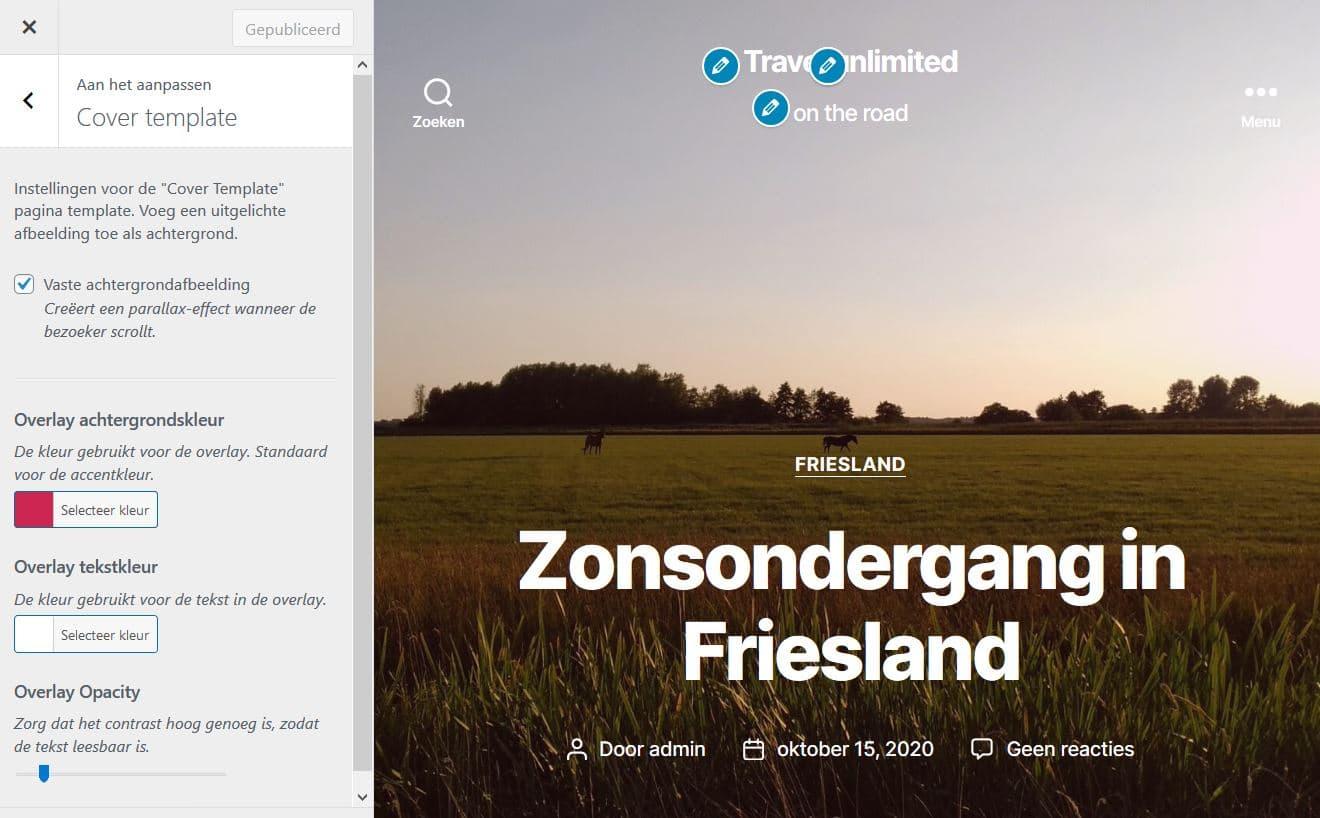 Cover template: de overlay van je achtergrondafbeelding aanpassen