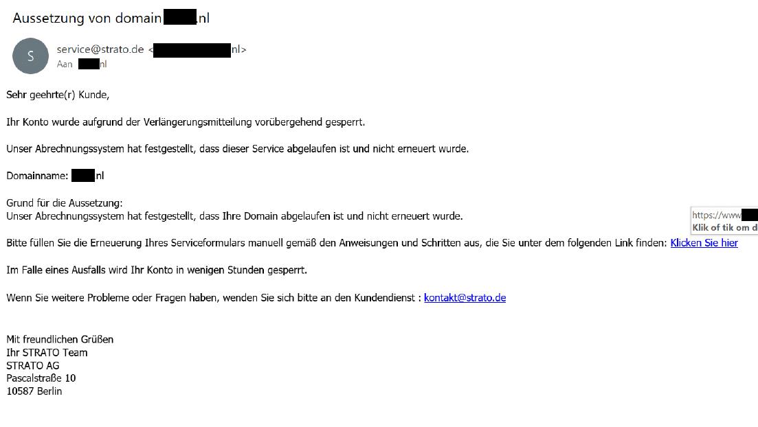 Voorbeeld van een phishingmail (Duits)