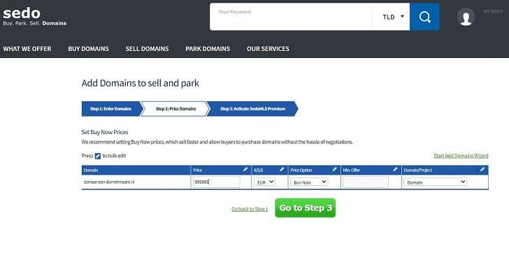sedo: je domein parkeren bij sedo
