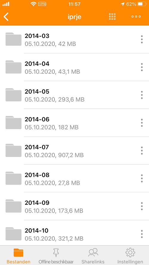 HiDrive camera-upload: foto's worden opgeslagen in meerdere mappen, gesorteerd op datum van opname