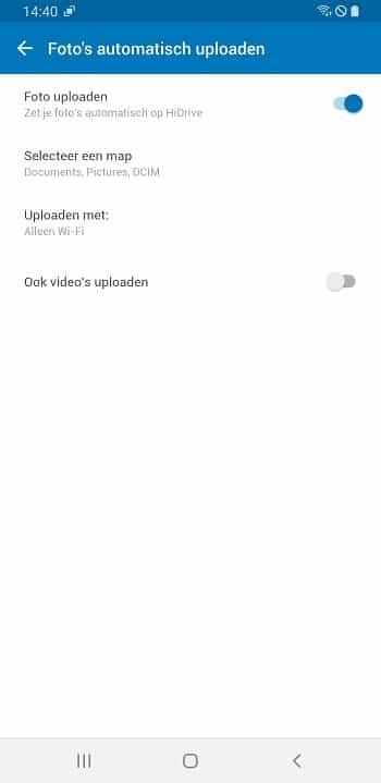 Instellingen Android-app automatisch uploaden afbeeldingen