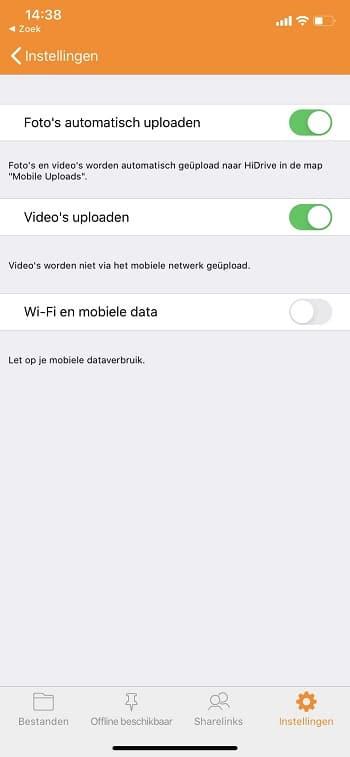 Instellingen iOS-app automatisch uploaden afbeeldingen