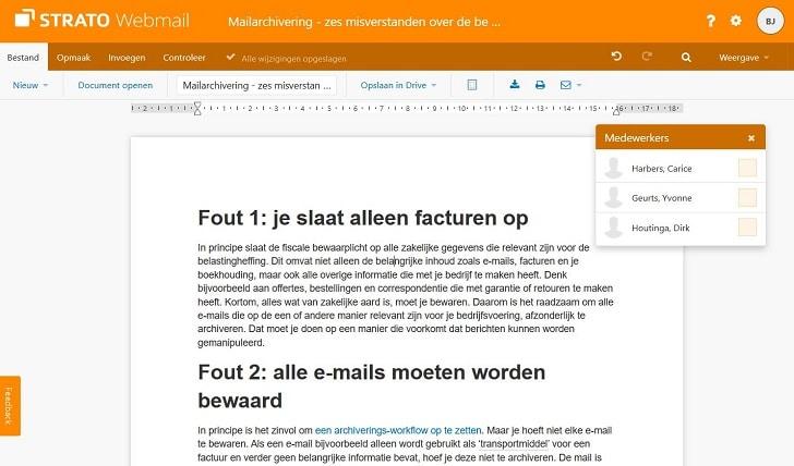 STRATO Webmail: samenwerken in Webmail Documents