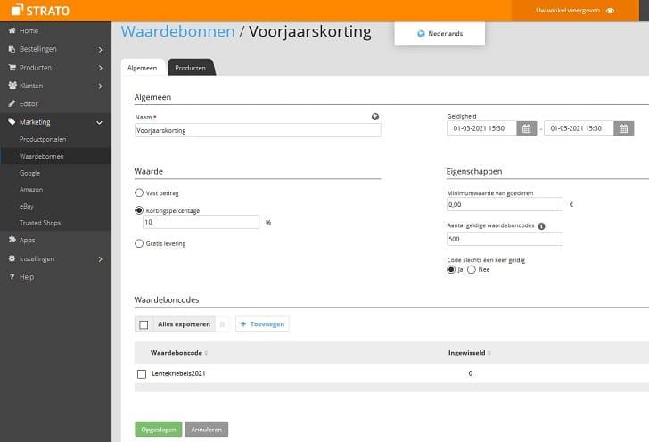 Webshop Now: zo maak je waardebonnen voor je klanten